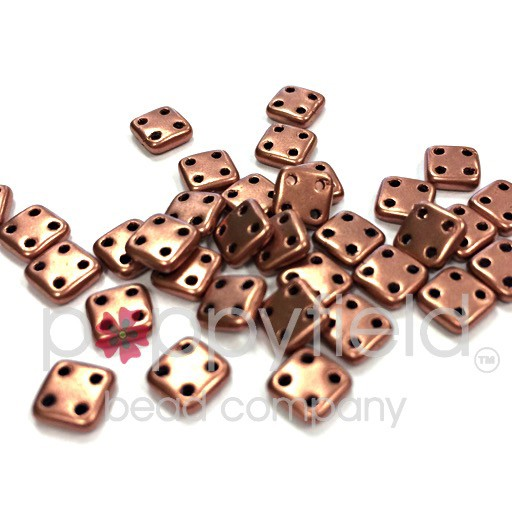 Czech 4 Hole Tile Beads, 6 mm, Matte Metallic Bronze Copper, 10g (approx. 75 pcs.)