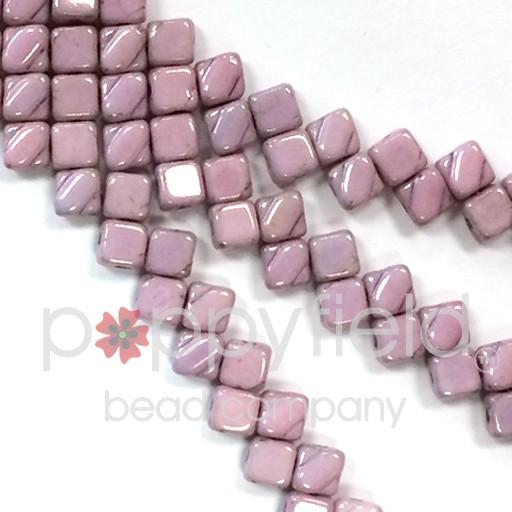 Czech 2 Hole Silky Beads, Chalk Lilac Luster, 40 Pcs