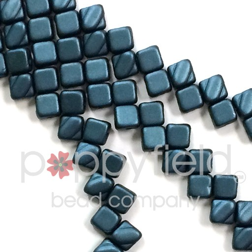 Czech 2 Hole Silky Beads, Pastel Petrol, 40 Pcs