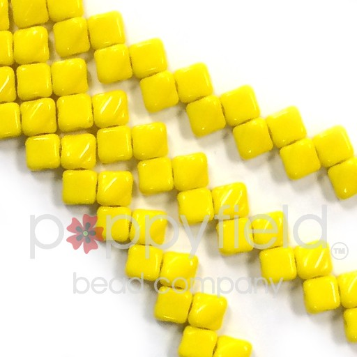 Czech 2 Hole Silky Beads, Yellow Opaque, 40 Pcs
