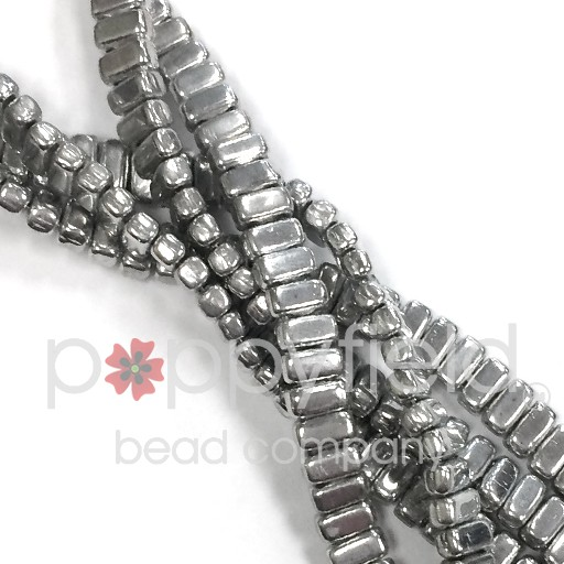 Czech 2-Hole Bricks, Silver, 50 pcs