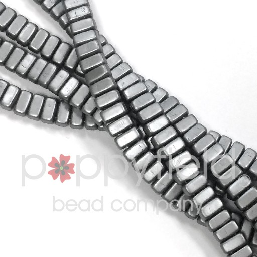Czech 2-Hole Bricks, Pearl Coat Silver, 50 pcs