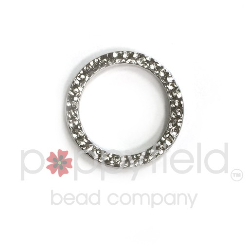 Hammered Ring, 18.5mm, Bright Rodium
