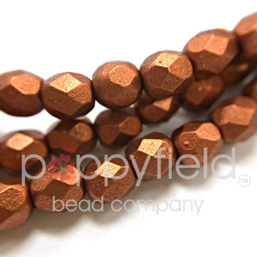 Czech Czech Fire Polish, 2 mm, Matte Metallic Antique Copper, 50 pc