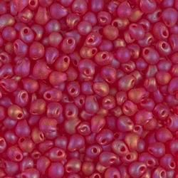 Japanese Drops, 3.4mm, Matte Transparent Red Orange AB, Approx. 10gm