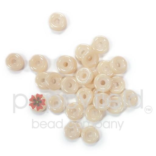 Czech Wheel Beads, 6 mm, Chalk Orange Luster, 20g Tube