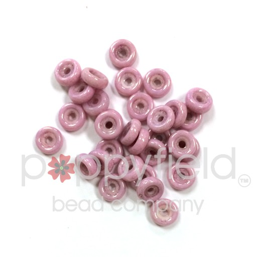 Czech Wheel Beads, 6 mm, Chalk Lila Luster, 20g Tube