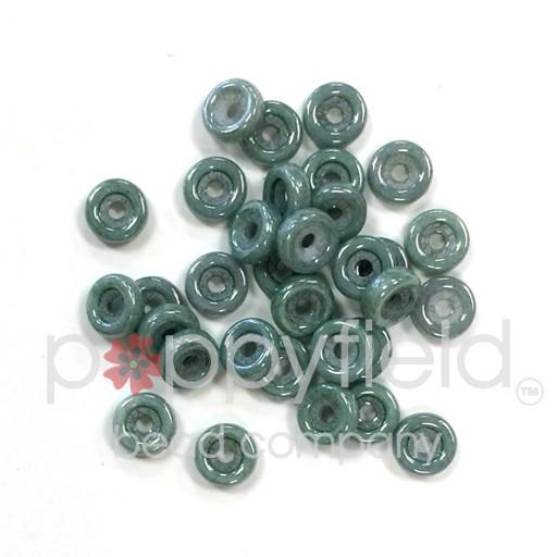 Czech Wheel Beads, 6 mm, Chalk Green Luster, 20g Tube