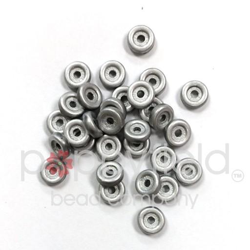 Czech Wheel Beads, 6 mm, Chalk Full Labrador Matte, 20g Tube
