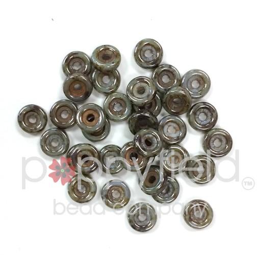 Czech Wheel Beads, 6 mm, Chalk Blue Glaze, 20g Tube