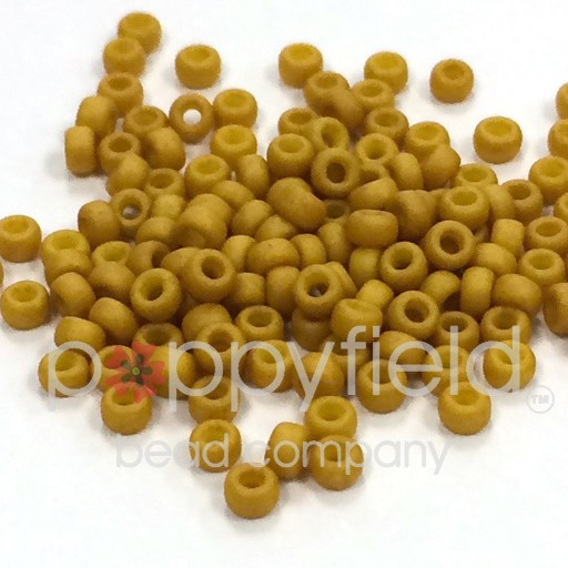 Japanese Japanese Seed Beads, 8/0, Matte Mustard Yellow, Approx. 30g tube