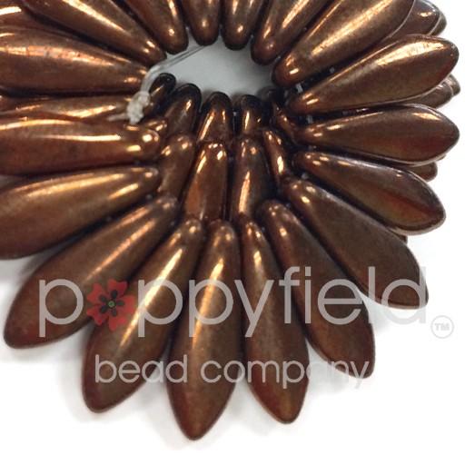 Czech 2-Hole Daggers, 5X16 mm, Bronze Lustre Iris, 50 pcs