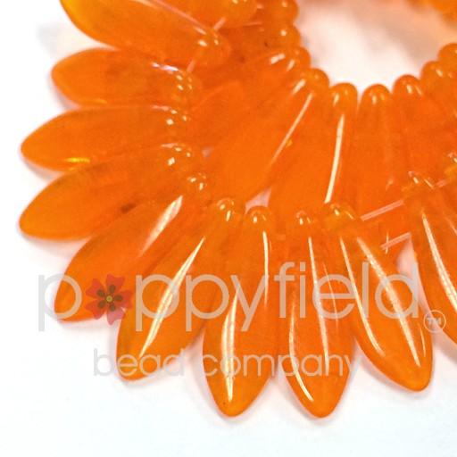 Czech 2-Hole Daggers, 5X16 mm, Opal Orange, 50 pcs