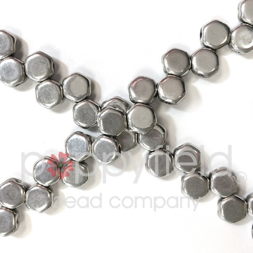 Czech 2-hole Honeycomb, 6 mm, Full Labrador, 30 pcs/strand