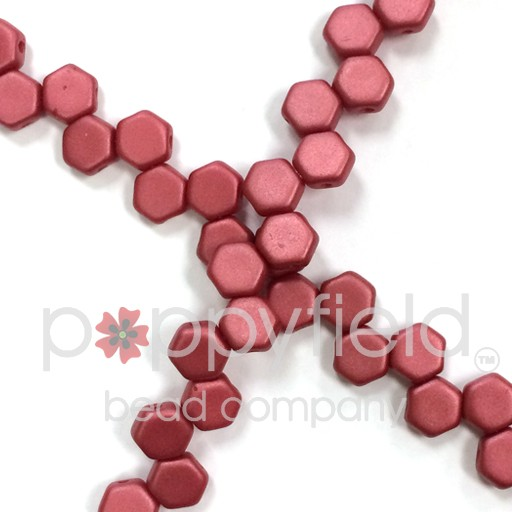 Czech 2-hole Honeycomb, 6 mm, Pastel Dark Coral, 30 pcs/strand