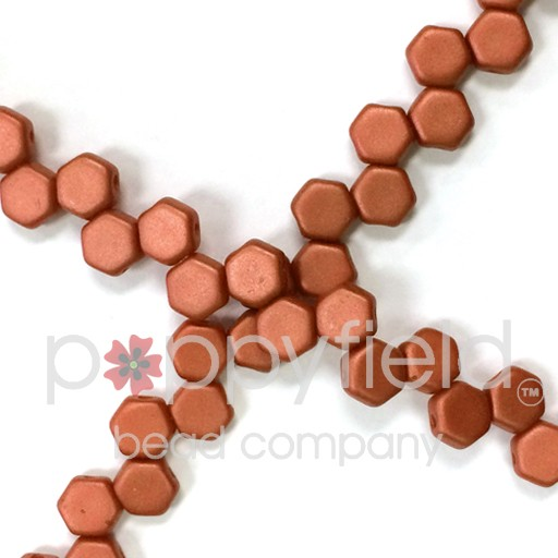Czech 2-hole Honeycomb, 6 mm, Bronze Fire Red, 30 pcs/strand