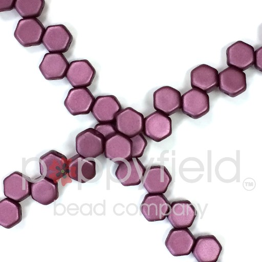 Czech 2-hole Honeycomb, 6 mm, Pastel Burgundy, 30 pcs/strand