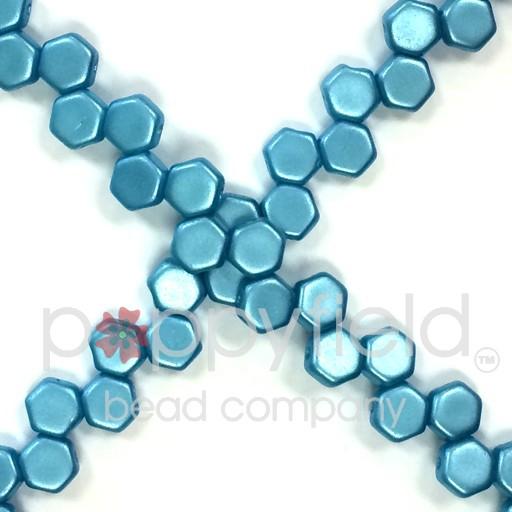 Czech 2-hole Honeycomb, 6 mm, Pastel Aqua, 30 pcs/strand