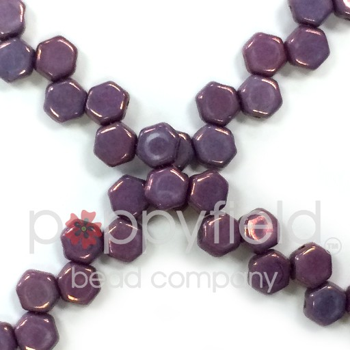 Czech 2-hole Honeycomb, 6 mm, Purple Vega, 30 pcs/strand