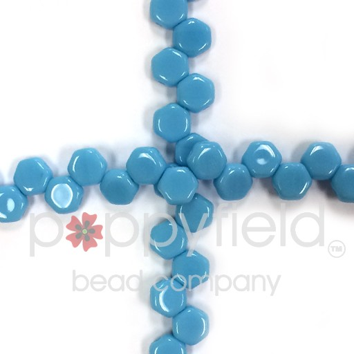 Czech 2-hole Honeycomb, 6 mm, Turquoise Opaque, 30 pcs/strand