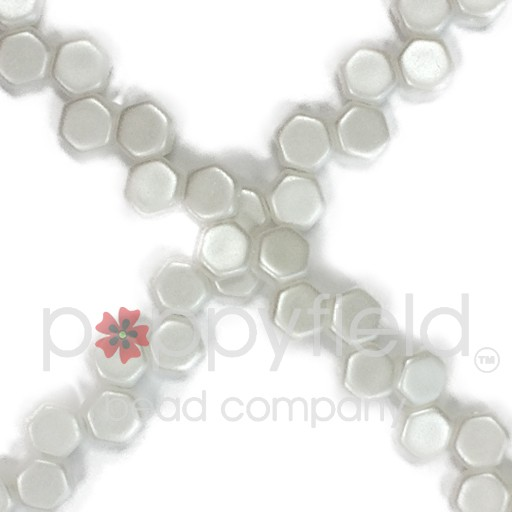 Czech 2-hole Honeycomb, 6 mm, Pastel White, 30 pcs/strand