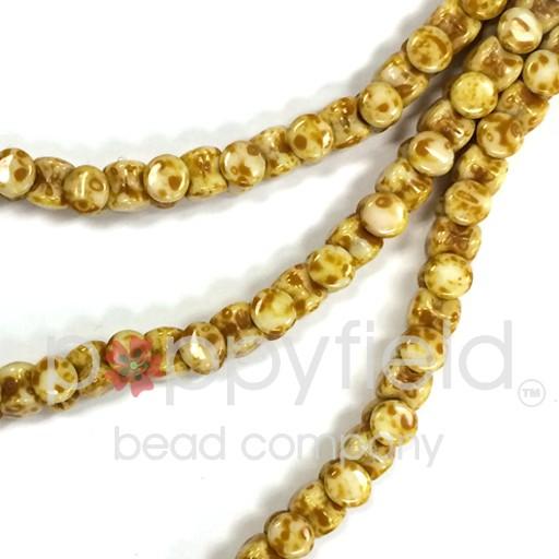 Czech Pellet Beads, 4x6mm, White Alabaster Travertine, 30 pcs