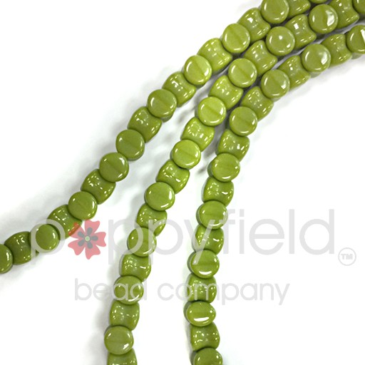 Czech Pellet Beads, 4x6mm, Opaque Olive, 30 pcs