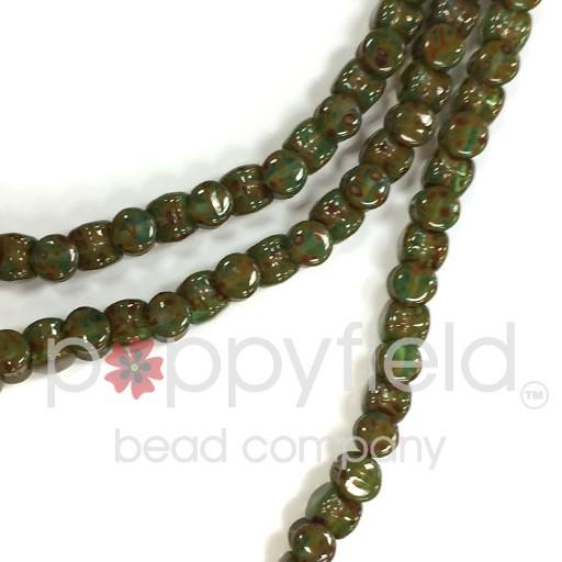Czech Pellet Beads, 4x6mm, Opaque Turquoise Travertine, 30 pcs