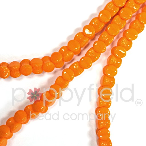 Czech Pellet Beads, 4x6mm, Sunflower Orange, 30 pcs
