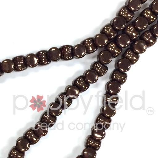 Czech Pellet Beads, 4x6mm, Jet Vega, 30 pcs