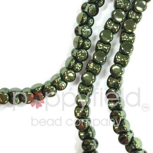 Czech Pellet Beads, 4x6mm, Jet Red Luster, 30 pcs