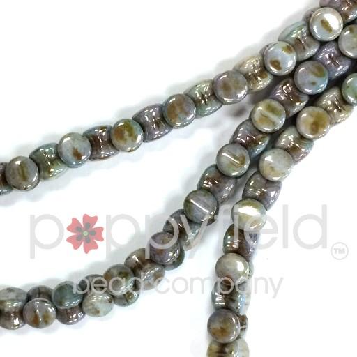Czech Pellet Beads, 4x6mm, Chalk White Lazure Blue, 30 pcs