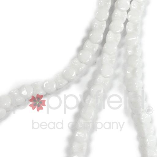 Czech Pellet Beads, 4x6mm, Chalk White, 30 pcs