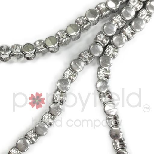 Czech Pellet Beads, 4x6mm, Crystal Full Labrador, 30 pcs