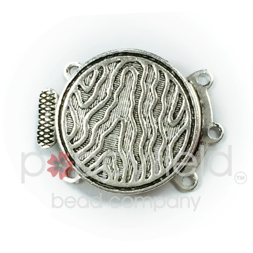 3-Strand Round Clasp, 18mm, Antique Silver