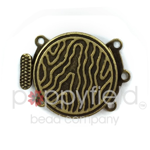 3-Strand Round Clasp, 18mm, Vintage Look, Antique Brass