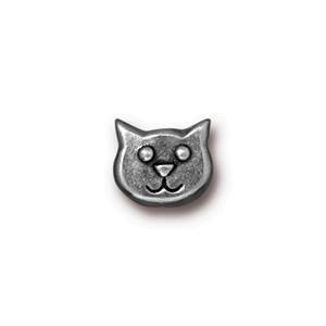 Cat Face Bead, Silver Patina