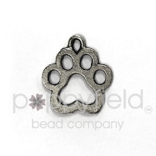 Dog Paw Charm, Pewter