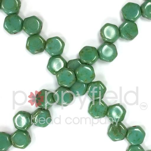 Czech 2-hole Honeycomb, 6 mm, Green Turquoise Dark Travertine, 30 pcs/strand