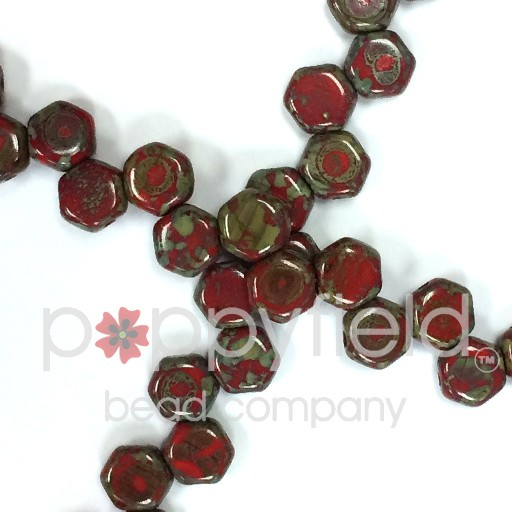 Czech 2-hole Honeycomb, 6 mm, Red Travertine, 30 pcs/strand