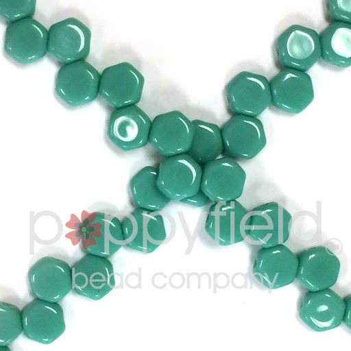 Czech 2-hole Honeycomb, 6 mm, Green Turquoise Opaque, 30 pcs/strand