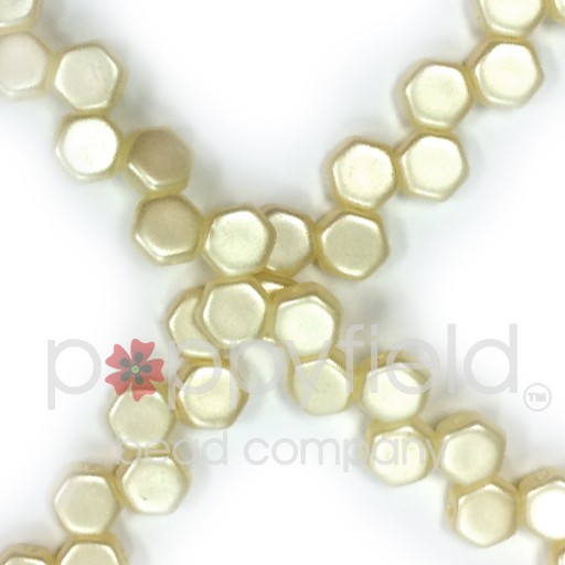 Czech 2-hole Honeycomb, 6 mm, Pastel Cream, 30 pcs/strand