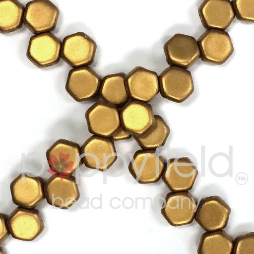Czech 2-hole Honeycomb, 6 mm, Matte Metallic Antique Brass, 30 pcs/strand