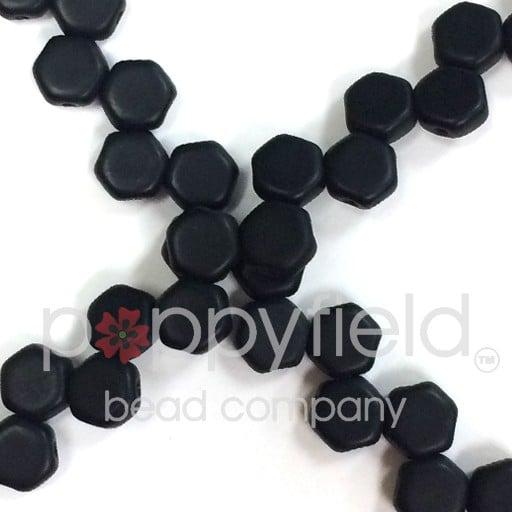 Czech 2-hole Honeycomb, 6 mm, Jet Matte, 30 pcs/strand