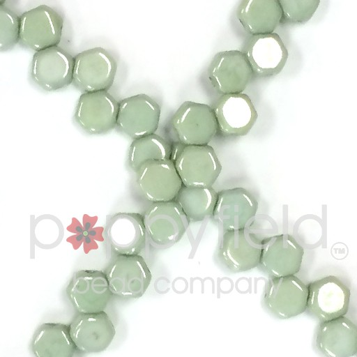 Czech 2-hole Honeycomb, 6 mm, Green Luster, 30 pcs/strand