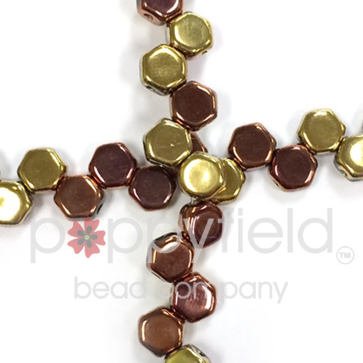Czech 2-hole Honeycomb, 6 mm, Jet California Gold, 30 pcs/strand