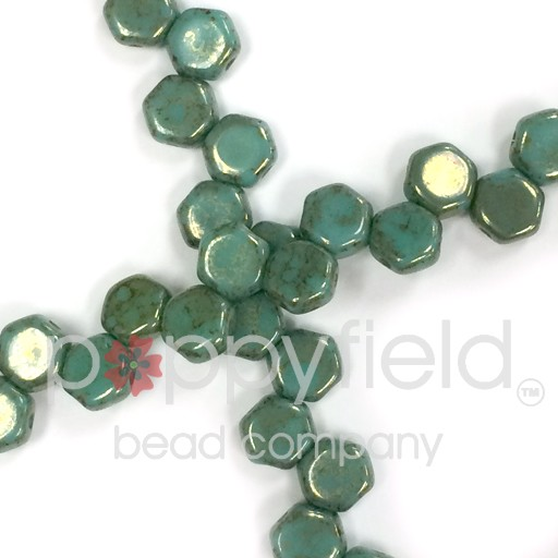 Czech 2-hole Honeycomb, 6 mm, Green Turquoise Lumi, 30 pcs/strand
