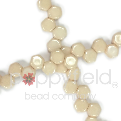 Czech 2-hole Honeycomb, 6 mm, Chalk Beige, 30 pcs/strand