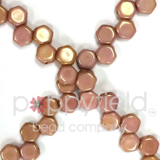 Czech 2-hole Honeycomb, 6 mm, Red Luster, 30 pcs/strand