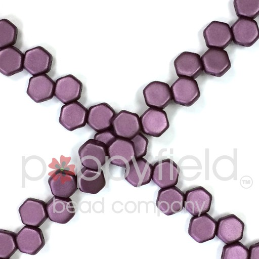 Czech 2-hole Honeycomb, 6 mm, Pastel Bordeaux, 30 pcs/strand